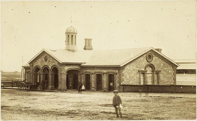 Adelaide Railway Station, North Terrace, ca1863    B B9875    Adelaide Railway Station before the second storey was added.    Visit the State Library of South Australia to view more photos of South Australia