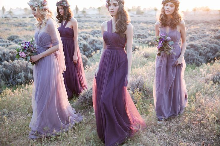 Raisin and lilac bridesmaids // Rustic Lavender: Bridesmaid Dresses by Jenny Yoo #purple #radiant #orchid #wedding #convertible #dress