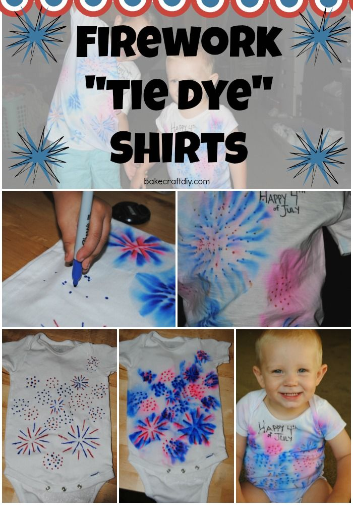 Firwork Tie Dye Shirts made using sharpies and rubbing alcohol such an easy craft for kids to make their own patriotic shirts!! From Bake Craft DIY