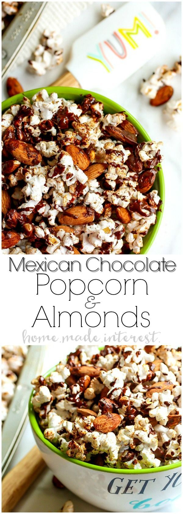 Mexican Chocolate Popcorn and Almonds | This sweet and crunchy Mexican Chocolate Popcorn and Almonds is a healthy snack that is easy to make. A blend of spices and chocolate gives this Mexican Chocolate Popcorn and Almonds a sweet flavor with a little bit of a kick and the light popcorn and almonds are healthy snack foods that taste great! #CelebrateAlmonds #ad @almonds