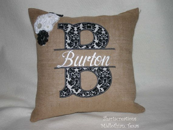 burlap pillow wedding house warming christmas college birthday mothers day anniversary gift winitial u0026 first or last name