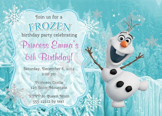12 best Frozen Party images on Pinterest Frozen party Olaf and