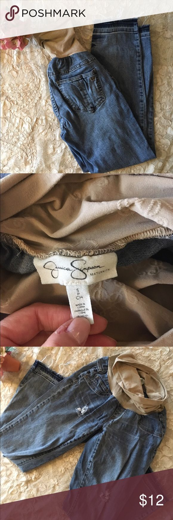 Jessica Simpson Maternity Jeans Ultra-comfy and stylish jeans from Jessica Simpson. These are a straight/slim leg with distressing and rips. I wore these throughout my second pregnancy and loved them! EUC Jessica Simpson Jeans