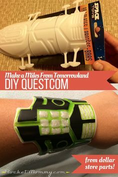 Make a DIY Miles From Tomorrowland Questcom (wrist communicator) using a costume piece from Dollar Tree! Easy and budget-friendly | Rocket Mommy
