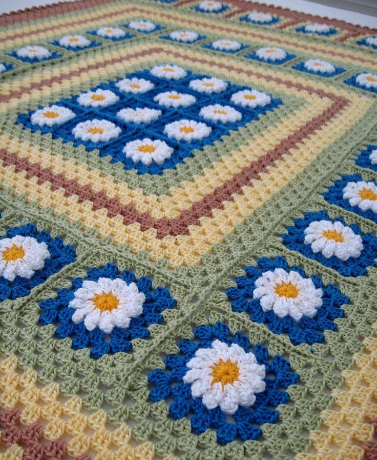 Crochet Afghan Squares | Love Crochet: Crocheted Daisy Flowers blanket afghan granny squares
