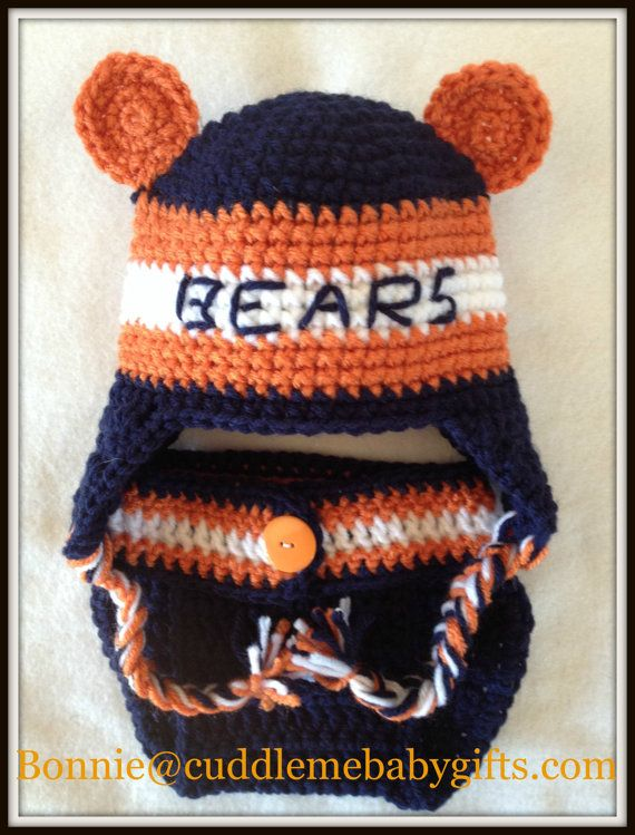 Chicago Bears crochet Hat & Diaper Cover by CuddleMeBabyGifts, $30.00  @etsy @huggies @babyandchildren @coolshowergifts