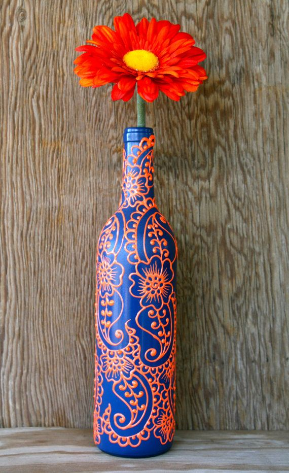 Hand Painted Wine bottle Vase, Up Cycled, Dark Blue and Bright Orange, Vibrant Henna style design