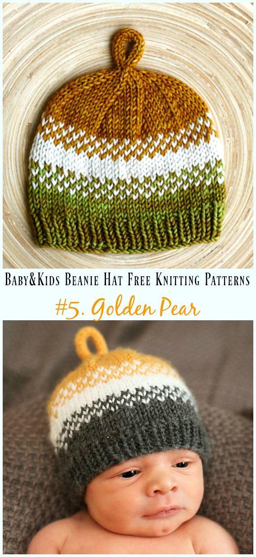 Baby & Kids Beanie Hat Free Knitting Patterns | Gorritos Tejidos ...
