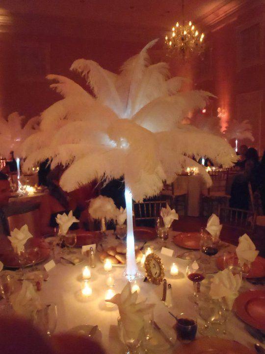 White feather centerpiece wedding pinterest