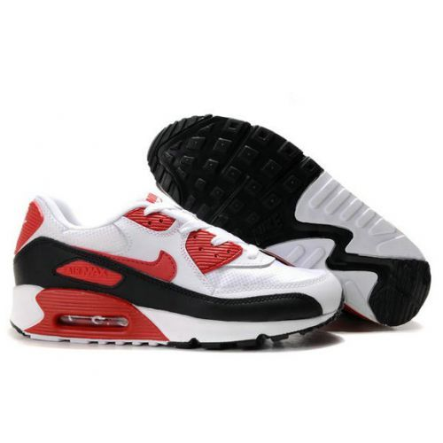 Cheap Original Nike Air Max 90 Mens Premium Trainers White Red And Black  Shoes Online Outlet Store