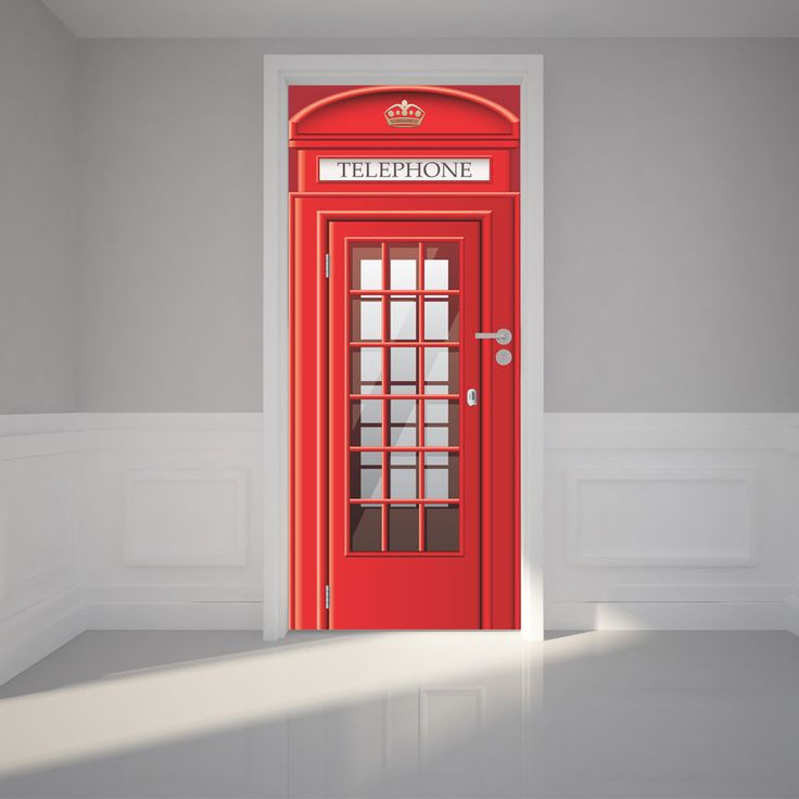 Door Wall Sticker London Phone Booth Removable Fabric