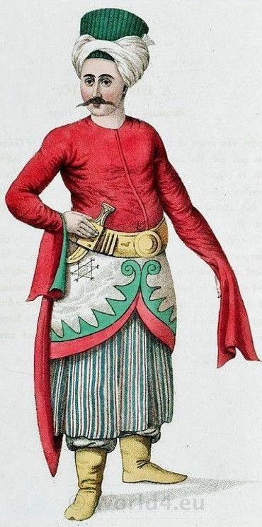 Ottoman Empire Costume in 1800. A domestic belonging to the Grand Vizier's household.