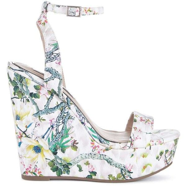 Miss Selfridge MYTH Floral Wedge Sandals ($90) ❤ liked on Polyvore featuring shoes, sandals, wedges, white, wedge sandals, summer shoes, floral print sandals, white shoes and white summer shoes