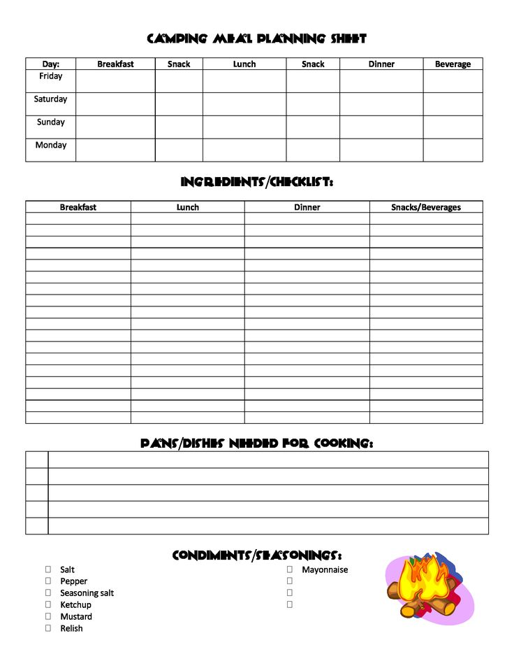 Printables Meal Planning Worksheet 1000 ideas about camping meal planner on pinterest planning sheet
