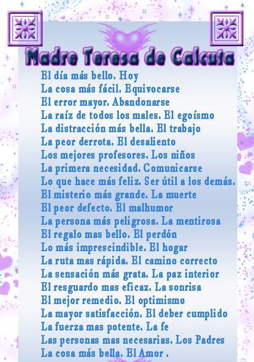 frases de teresa de calcuta sobre la vida | MADRE TERESA DE CALCUTA:PENSAMIENTOS | EL Candil de los Pensamientos