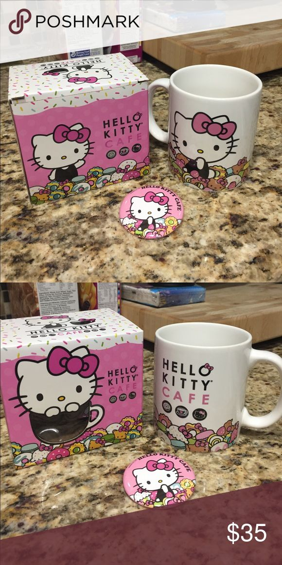 Hello Kitty Cafe mug new with box, comes with Hello Kitty Cafe button and sticker Hello Kitty Accessories