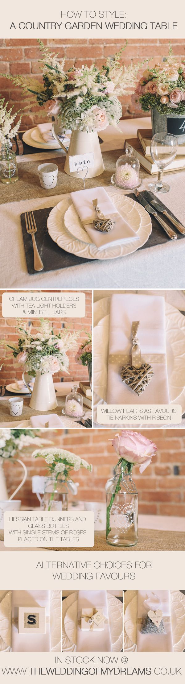 How To Style Country Garden Wedding Tables with Cream Jug Centrepieces, Hessian Table Runners, Wooden Heart Favours. Allavailable from www.theweddingofmydreams.co.uk #wedding @Matt Valk Chuah Wedding of my Dreams