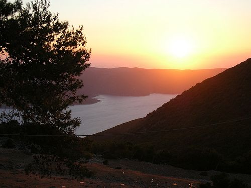 Sun sets in Ithaca, Greece - August 2005