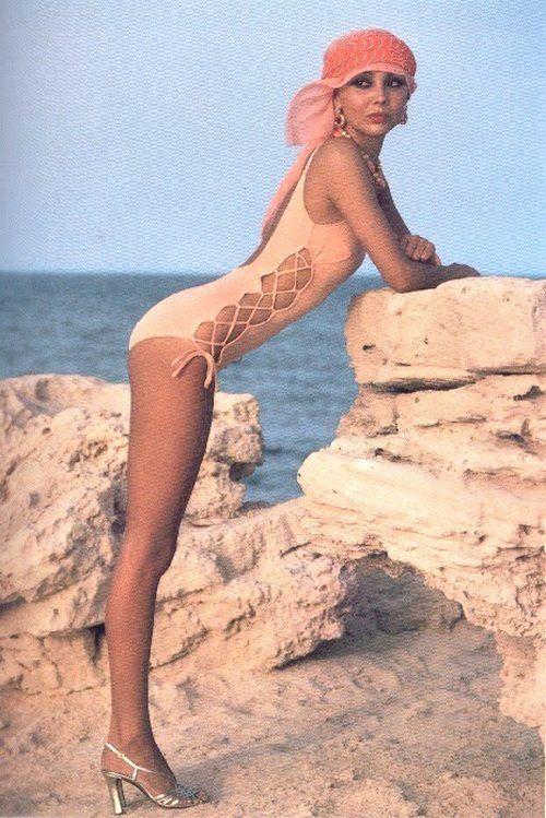Marie Helvin models swimwear, turban 1970s.