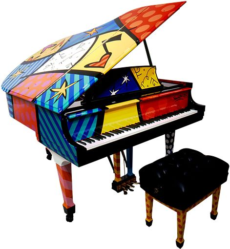 Romero Britto---- Hand painted by world renowned Brazilian Neo-pop artist Romero Britto, this grand piano is an iconic work of art married with the signature excellence in sound of a Steinway