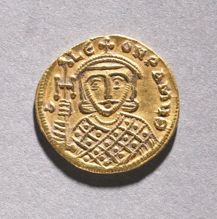 Solidus with Leo IV the Khazar and His Father Constantine V Copronymus, c. 751-775 Byzantium, 8th century gold, Diameter - w:1.95 cm (w:3/4 inches) Wt: 4.45 grams