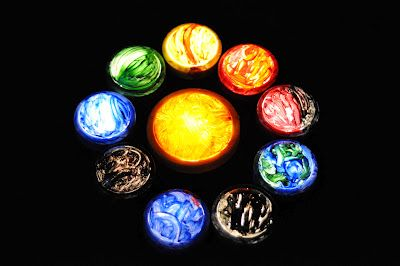 Push Light Solar System. Add paint and Mod Podge to push lights for glowing planet fun!