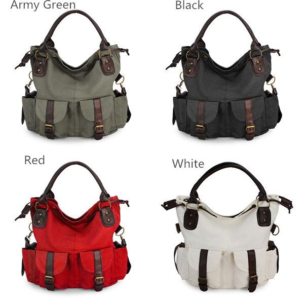 Women Casual Canvas Drawstring Handbags Multi Pocket Shoulder Bags Crossbody Bags