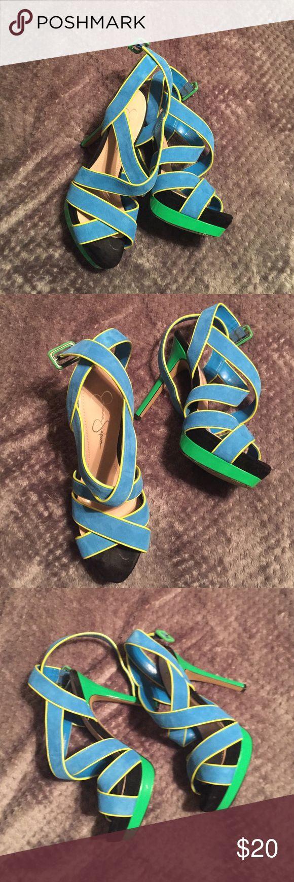 Jessica Simpson pump heels Blue & green Jessica Simpson heels size 8 1/2. Good condition. Jessica Simpson Shoes Heels