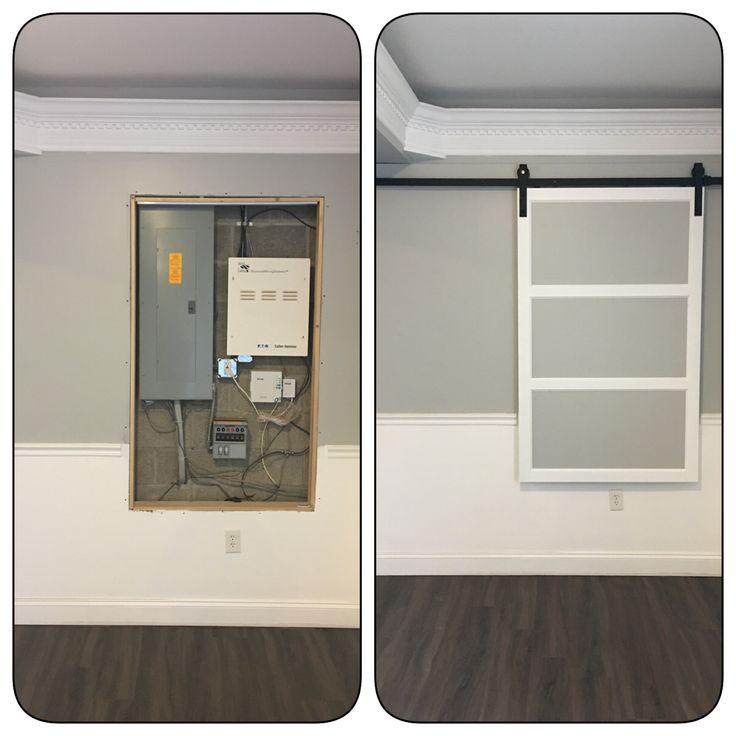 Modern Barn Door To Cover Fuse Box Basement Living Rooms Utility Room Organization Modern Barn Door