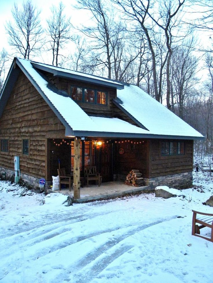 cozy cabin in the woods retreat and fallingwater, home decor, Check out the exterior of this adorable cabin