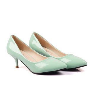 New Candy Colors Women OL Shallow Mouth Pointed Toe Thin Heel Pumps - US$25.98