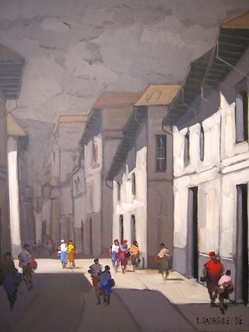 Quito's Street  acrylic on canvas  40 by 32 inches