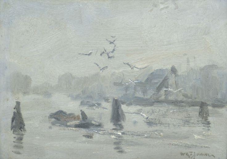 Willem G.F. Jansen (1871-1949) Titel: Wintervaart met vrachtvaarder - Artiquair