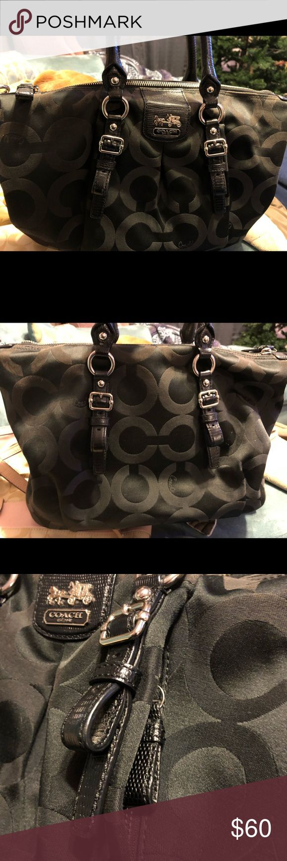 Black Coach Purse Used Black Coach purse, had for a while and had a few spots inside the purse per the pics. Coach Other