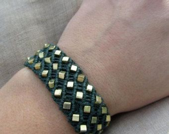 Copper and Gold Macrame Hemp Bracelet  Natural Hippie