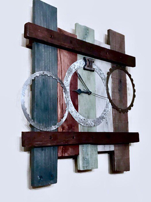 Handcrafted rustic industrial style wall hanging clock made