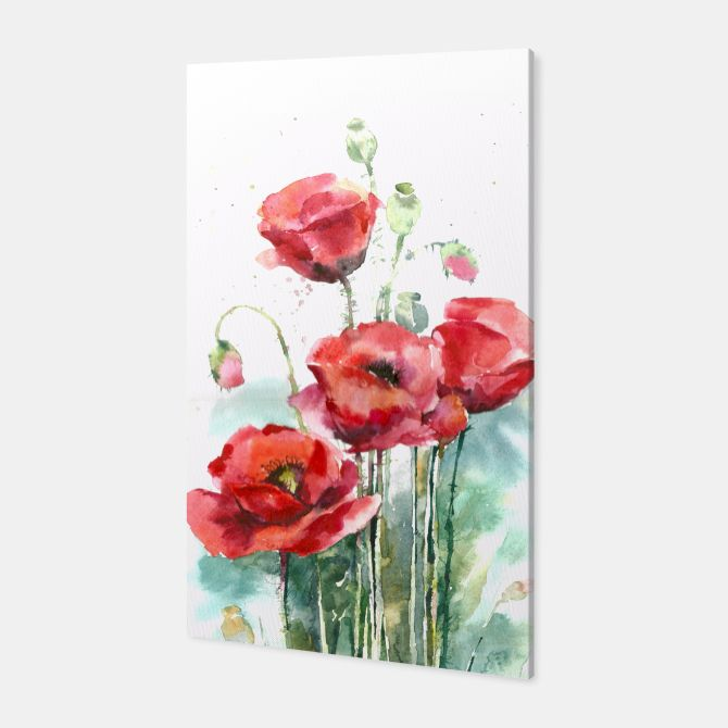 Watercolor poppy flowers Canvas, Live Heroes