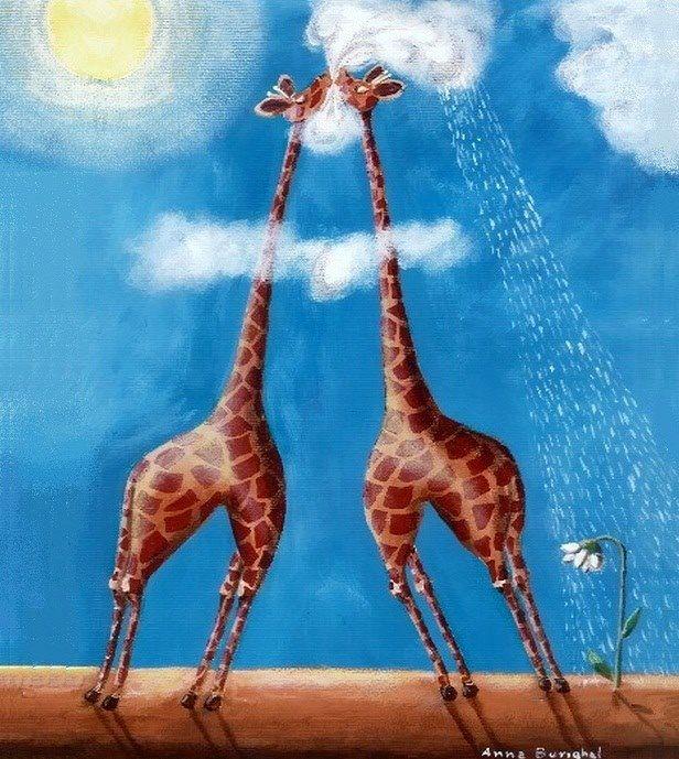 Giraffes in clouds cartoon illustration via www.Facebook.com/GleamOfDreams