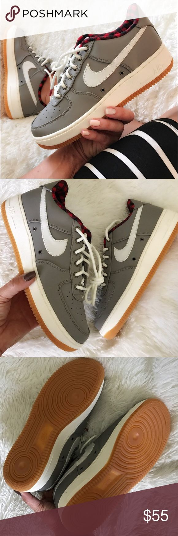 Nike Air Force 1 lv8 gray red womens size 8 shoes Shoes are a size 6.5 youth which is a women's size 8. I added a sizing chart for reference. No box Nike Shoes Sneakers