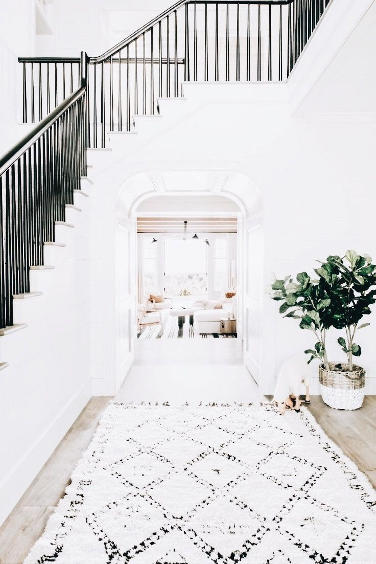 Stairwell White Home Entryway Decor Beach House Interior
