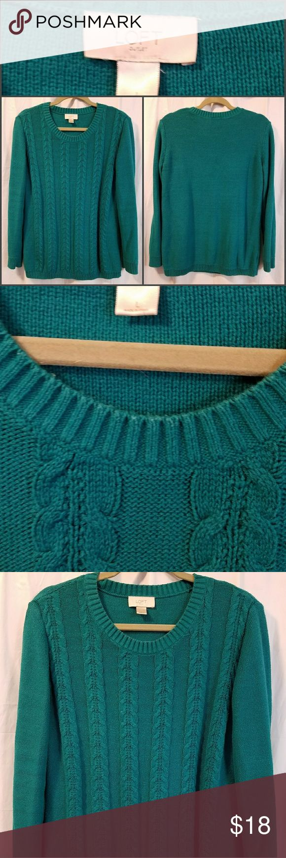 Ann Taylor Loft outlet turquoise sweater Pretty turquoise/ teal colored sweater in great condition. Cotton and acrylic. LOFT Sweaters Crew & Scoop Necks