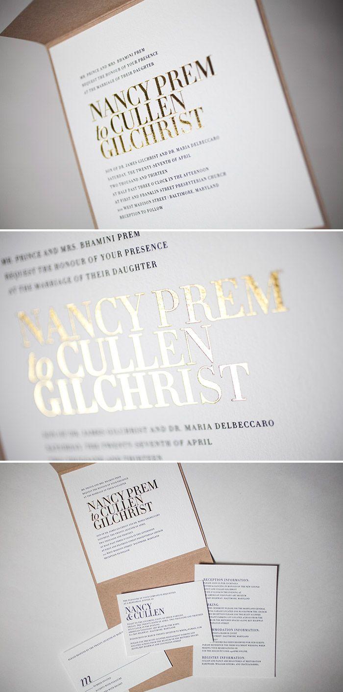 fun modern wedding invitations%0A gold foil letterpress with clean type    Invitation DesignInvitation  IdeasInvitation PaperModern Wedding InvitationsWedding