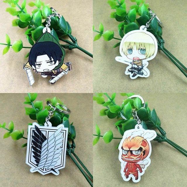 Attack on Titan Anime Accessories Mini Cartoon Pendant Keychain Keyring Gif Ywei