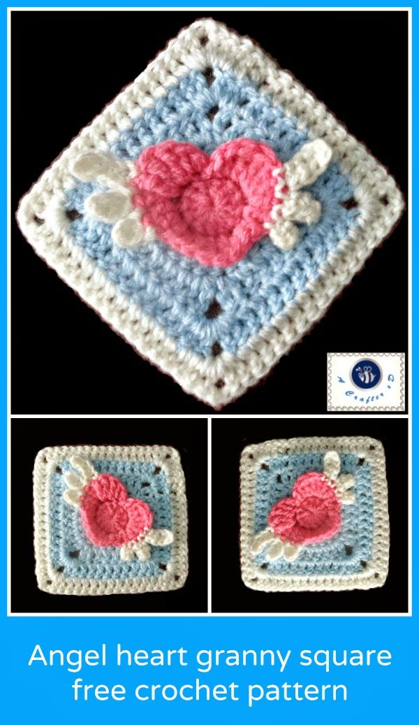 crochet winged heart granny square,