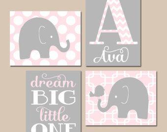 Baby Girl Nursery Wall Art Pink Gray Grey Dream by CadenRossCanvas