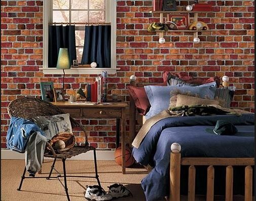 faux rustic brick wallpaper used in boys bedroom love the way it blends in with - Brick Wallpaper Bedroom Ideas