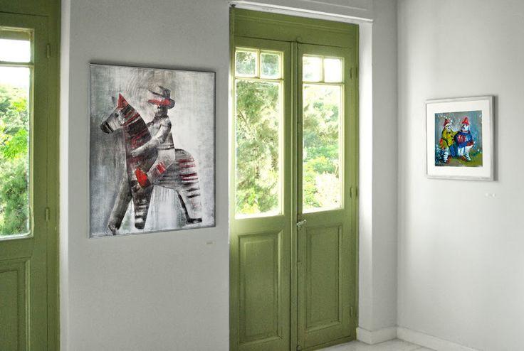 Μαριάννα Κατσουλίδη, Toy horse and boy, 2011, mixed media on canvas, 100 x 80 cm / Toy couple, 2010, mixed technique on canvas, 35 x 35 cm,  05/2013 Group Exhibition ''ART vs CRISIS'', Αίθουσα Τέχνης Πόρτα, Εστιατόριο Kuzina, διαδικτυακή γκαλερί DL Fine Arts Gallery, Επιμέλεια: Δήμητρα Λιμνιάτη (http://www.dlfineartsgallery.com/exhibit/exhibitions/8ALCBSBa_XWvIw)