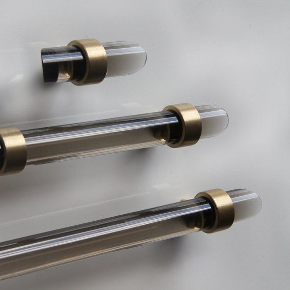 Made to order. Fabulous fit for cabinets, drawers, and any furniture. Available in Satin Brass, Brass or Chrome  - Pulls consist of 2 mounts and polished lucite rod. Posts come in two style - straight post and crown post - Toggle Pulls have 1 mount positioned in the middle of the rod. 3/4 Projection (Base to Center of Rod): Straight: 1- 1/8 Crown: 1 -1/16 PLEASE NOTE: **When you are selecting the length through the order, that is the actual length of the lucite (tip to tip) NOT the hardware…