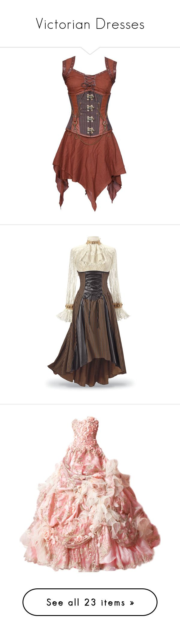 """Victorian Dresses"" by emilybrackeen ❤ liked on Polyvore featuring dresses, steampunk, corsets, short dresses, short corset, brown cocktail dress, mini dress, long cocktail dresses, steampunk corset dress and historical"