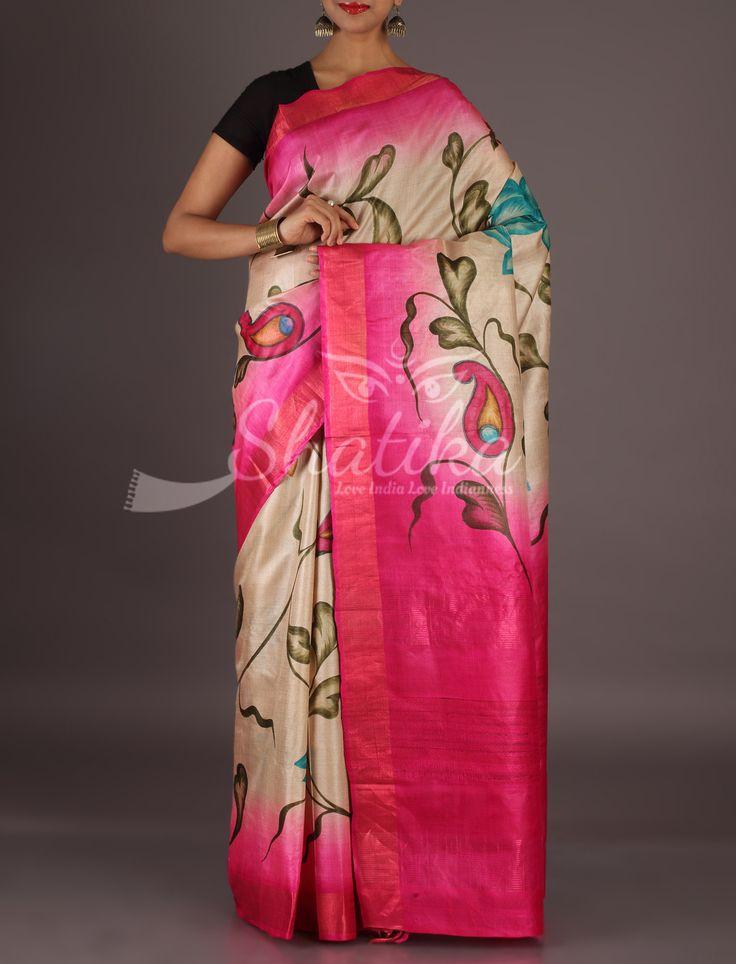 Aliya Charming Blooms With Plain Border Pallu Handpainted Kosa Silk Saree